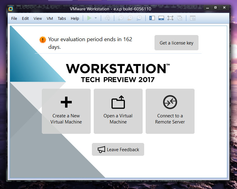 VMware Workstation Pro Tech Preview 2017